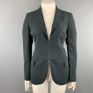 AKRIS Size 12 Forest Green Wool Zip Off Sport Coat Blazer Jacket