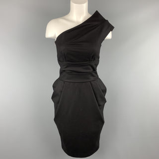 LA PETITE S***** Size 0 Black Virgin Wool Blend One Shoulder Cocktail Dress