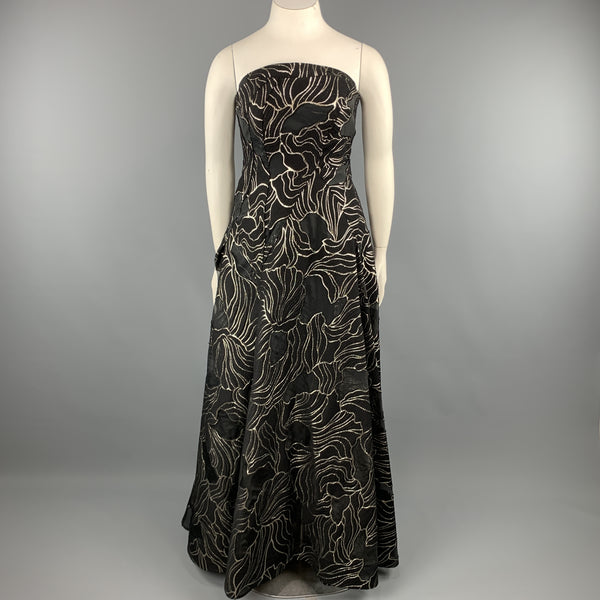RUBIN SINGER Size 14 Black & Gold Floral Wool Blend Strapless Bustier Evening Gown