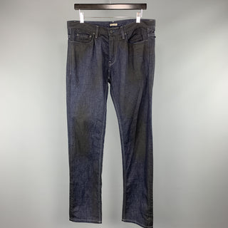 BOTTEGA VENETA Size 34 x 33 Indigo Contrast Stitch Denim Zip Fly Jeans