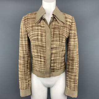 DOLCE & GABBANA Size 8 Beige & Brown Woven Silk Leather Trim Jacket