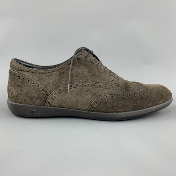 ERMENEGILDO ZEGNA Size 9.5 Grey Suede Wingtip Lace Up