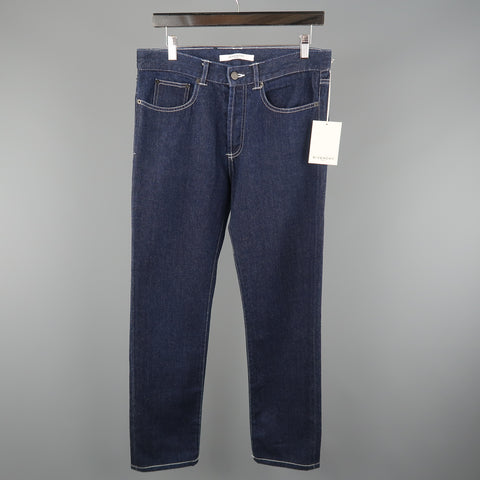 GIVENCHY Size 30 Indigo Denim Contrast Stitch Leather Pocket Jeans
