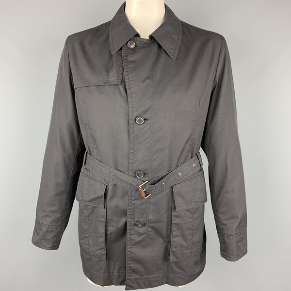 HUGO BOSS 44 Black Solid Cotton Blend Belted Jacket