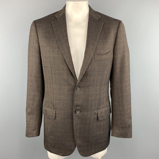 ISAIA 42 Brown Plaid Wool Notch Lapel  Sport Coat