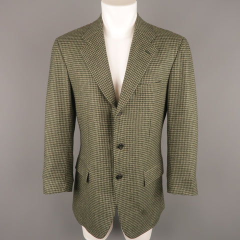 KITON 40 Regular Green Houndstooth Cashmere / Silk Notch Lapel  Sport Coat
