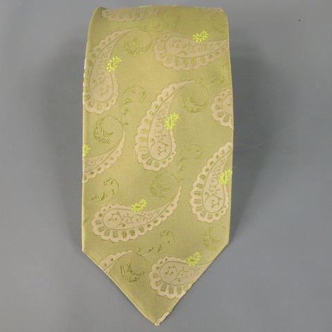 KITON Light Green Beige Paisley Print Silk Tie