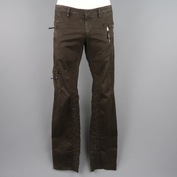 NEIL BARRETT Size 32 Brown Cotton Zip Pocket Casual Pants