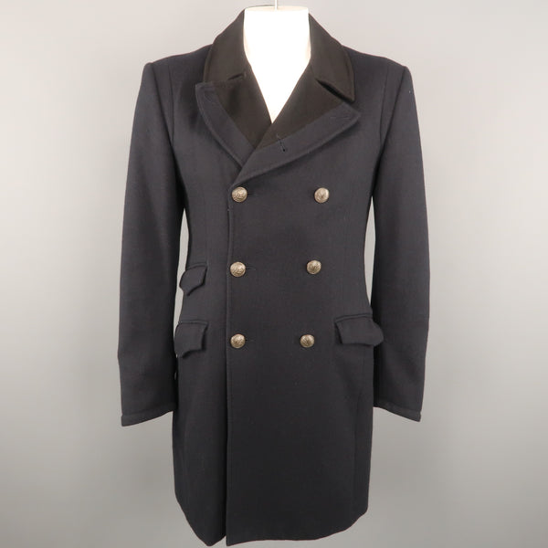 RAG & BONE 42 Navy Solid Wool / Nylon Double Breasted Coat