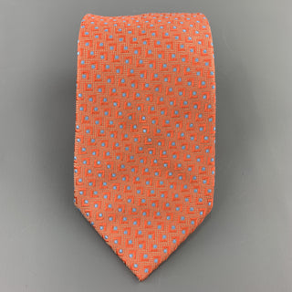 BRIONI Orange & Blue Abstract Geometric Print Silk Tie