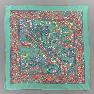 RALPH LAUREN Multi Color Paisley Turquoise Silk Pocket Square