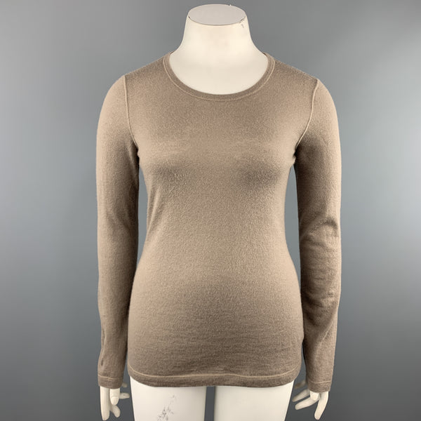 LORO PIANA Size 10 Taupe Beige Sheer Cashmere Knit Long Sleeve Pullover