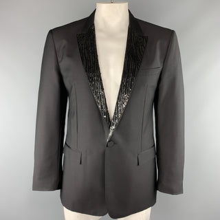 VIKTOR & ROLF Size S Black Beaded Mohair Blend Peak Lapel Tuxedo Sport Coat