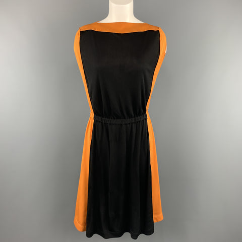 VIONNET Size 4 Black & Orange Color Block Gathered Waist Shift Dress