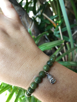 Jade - Gemstone Bracelet With Silver Charm - Love Tee