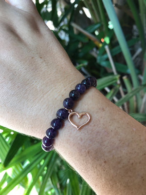 Amethyst - Gemstone Bracelet With Rose Gold Charm - Love Tee