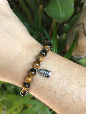 Tigers Eye - Gemstone Bracelet With Silver Charm - Love Tee