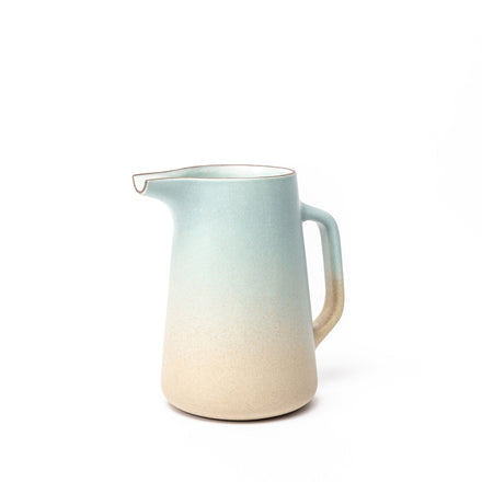 Pitcher with Handle in Aqua and Barley