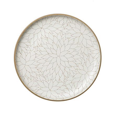 Camellia Etched Serving Platter in Opaque White