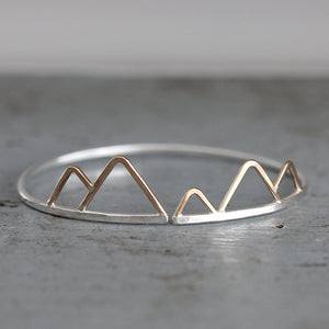 Olympus Cuff - Handmade Nature Inspired Mixed Metal Bracelet