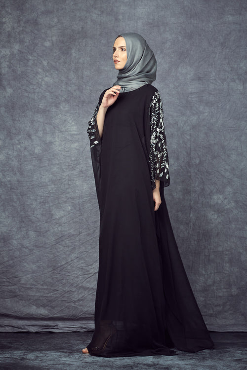Silver Embellished Black Gown