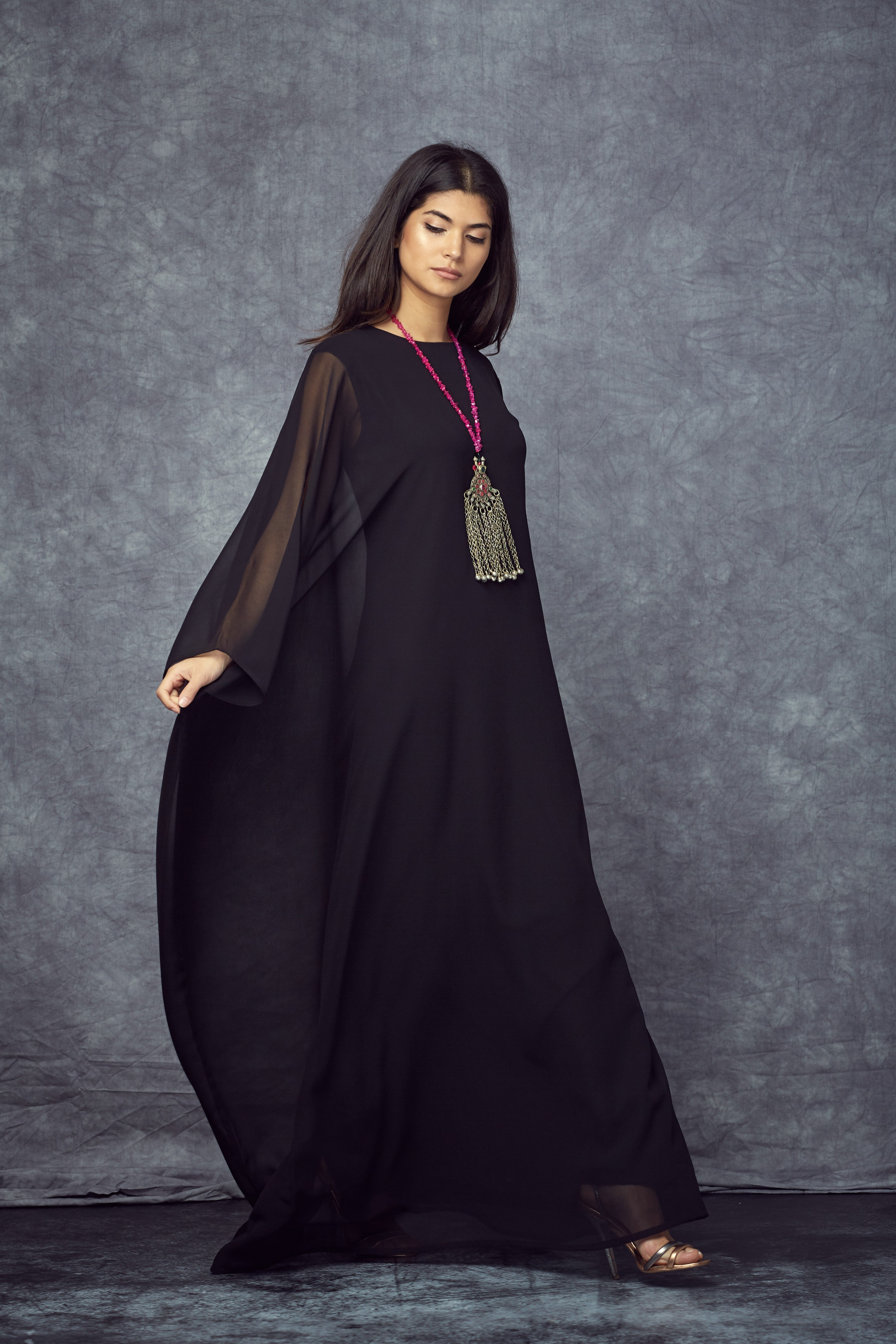 Draped Maxi Black Dress