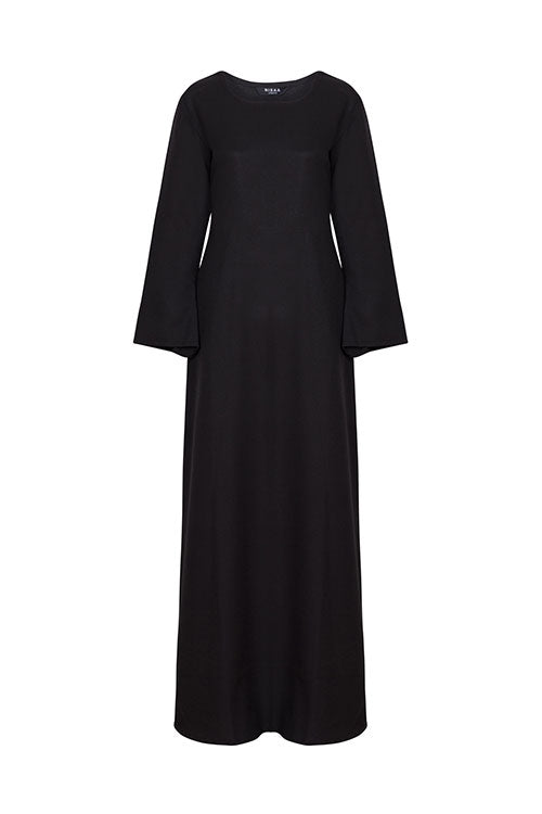 Maxi Black Bell Sleeves Dress