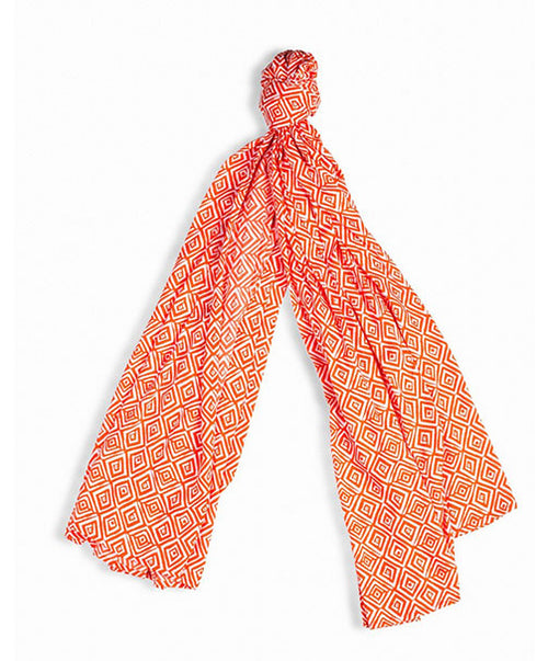 Orange And White Printed Scarf