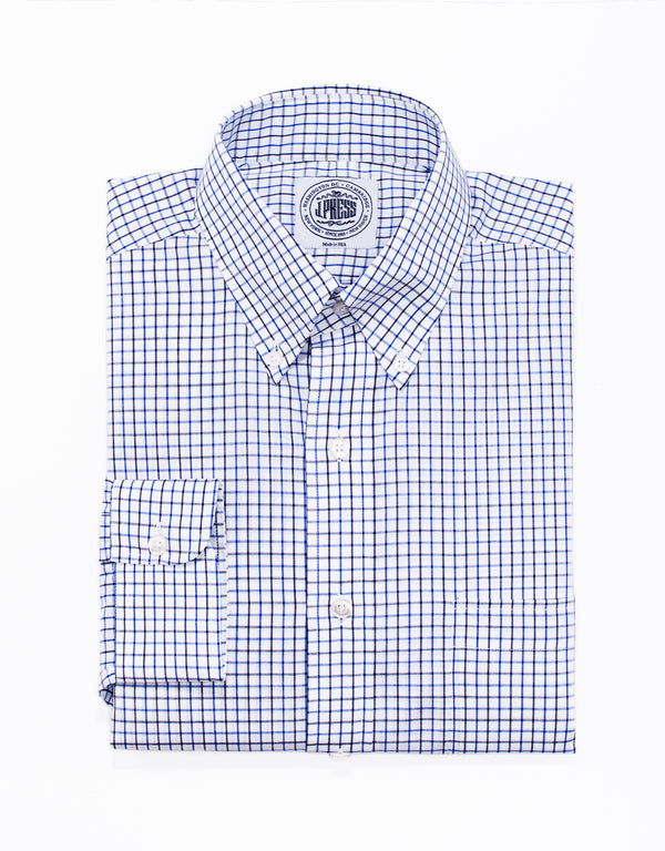 NAVY ROYAL TATTERSALL BUTTON DOWN SHIRT