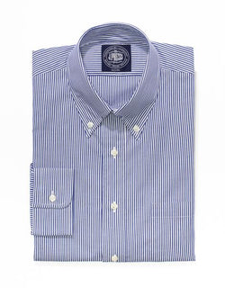 NAVY WHITE CANDY STRIPE BUTTON DOWN SHIRT - TRIM FIT