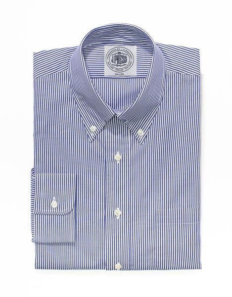 NAVY WHITE CANDY STRIPE BUTTON DOWN SHIRT