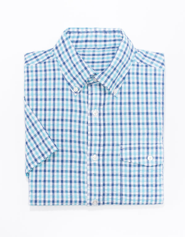 BLUE/TEAL CHECK SEERSUCKER SHORT SLEEVE BUTTON SHIRT - TRIM FIT