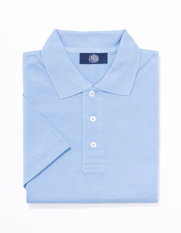 SOLID SHORT SLEEVE POLO SHIRT - LIGHT BLUE