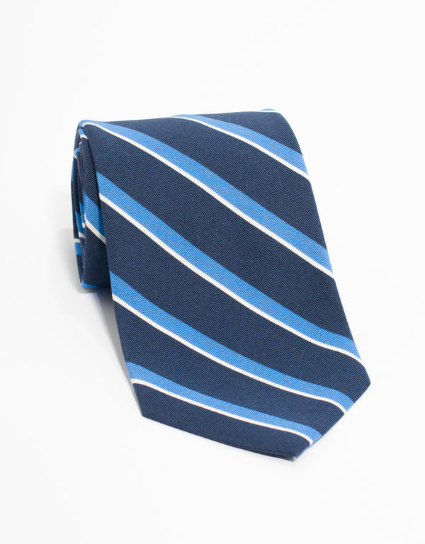 IRISH POPLIN REGIMENTAL TIE - NV/LB/WH