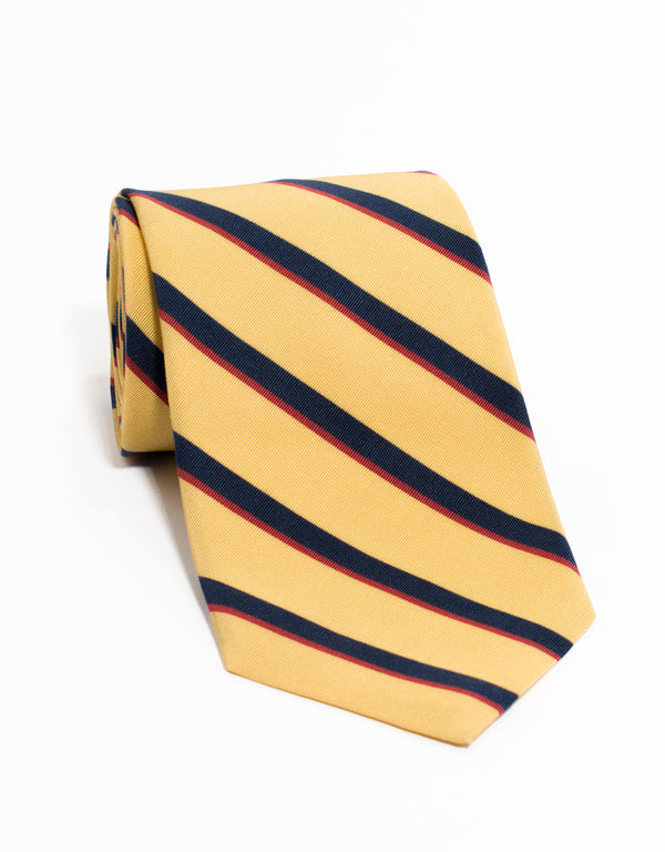IRISH POPLIN REGIMENTAL TIE - YL/NV/RD