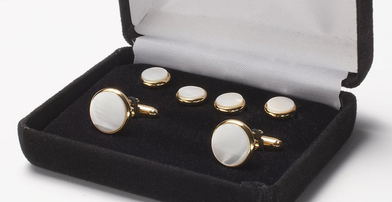 CUFFLINK AND STUD SET - MOTHER OF PEARL/GOLD