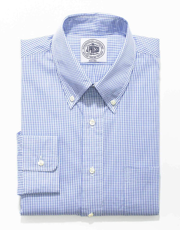 BLUE WHITE CHECK BUTTON DOWN SHIRT