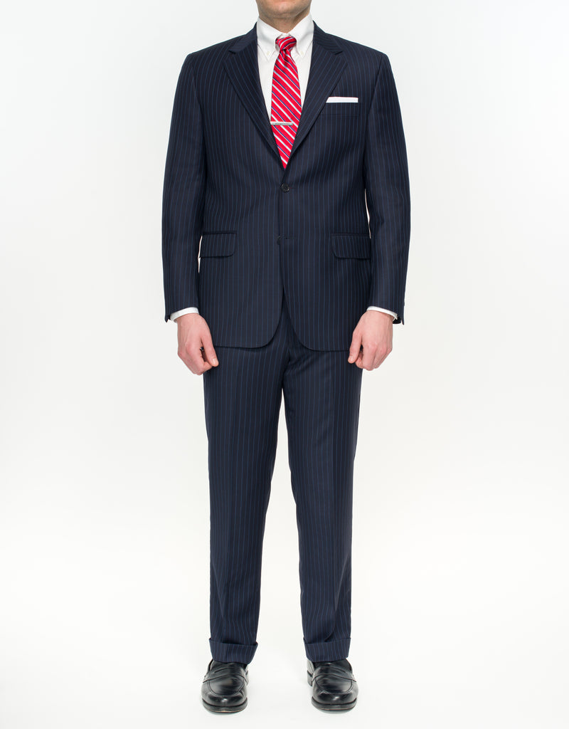 NAVY WITH BLUE STRIPE SUIT