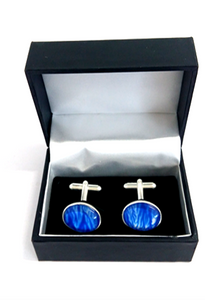blue silver plated cuff links