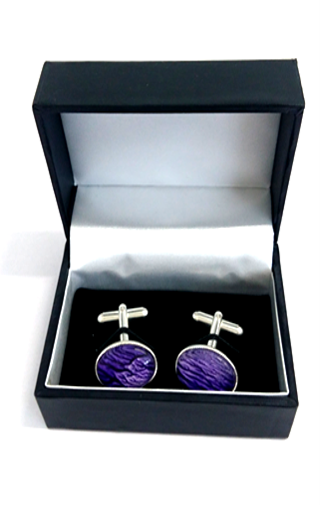 purple silver plated cuff links by Val B's Wax