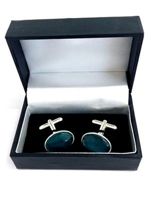Green silver plated cuff links by Val B's Wax