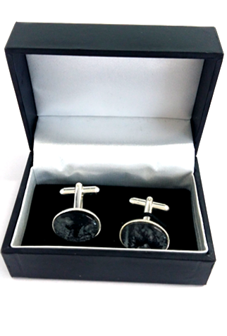 Black and silver silver plated cuff links by Val B's Wax