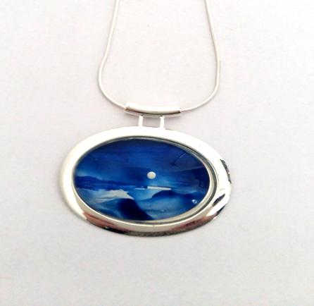 Silver Moon Seascape Large Tube Pendant