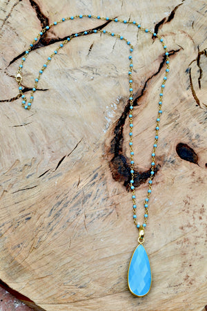 Turquoise Necklace with Large Teardrop Pendant
