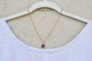 Red Corals with Round Amethyst Pendant Necklace