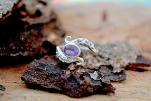 Amethyst with Crystals Healing Stone Ring
