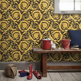 93583-4 Gold Black Barocco Flowers Mimas Wallpaper roll