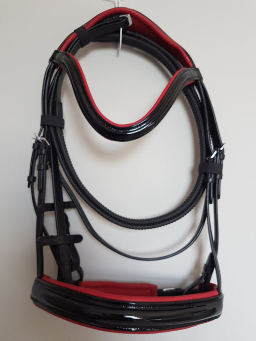 Cavesson Bridle - Black Patent Leather with Red  Full, Cob, Pony