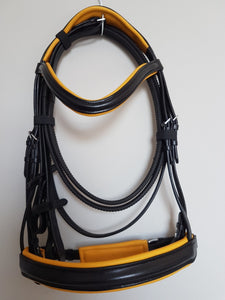 Cavesson Bridle - Black Leather with Yellow Full, Cob, Pony