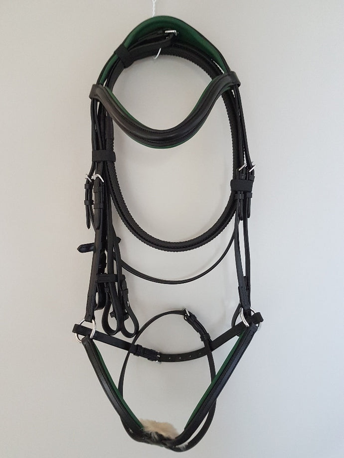 Grackle Bridle - Black Leather with Green Full, Cob, Pony